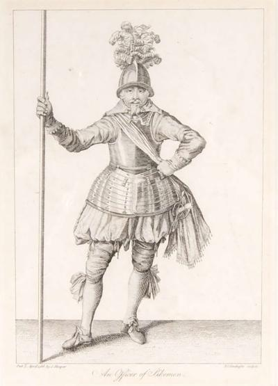 Francis Grose Antique Copper Engraving of an Officer of Pikeman by Francis Grose 19th Century