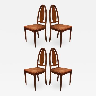 Francis Jourdain Francis Jourdain Attributed Art Deco set of 4 early dinning chairs