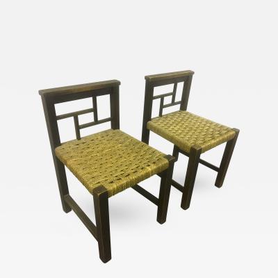 Francis Jourdain Francis Jourdain Modernist Bauhaus Style Pair of Oak and Rope Chairs