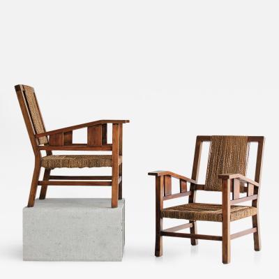 Francis Jourdain Francis Jourdain Woven Arm Chairs