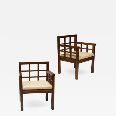 Francis Jourdain Rare Pair Gridded Armchairs in Palm Wood by Francis Jourdain