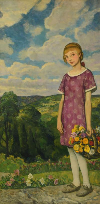 Francis Luis Mora Blond Girl with Basket of Flowers
