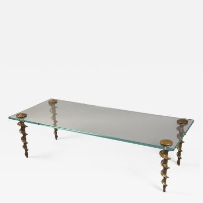 Franck Evennou Glass and Bronze Coffee Table by Franck Evennou France 2018