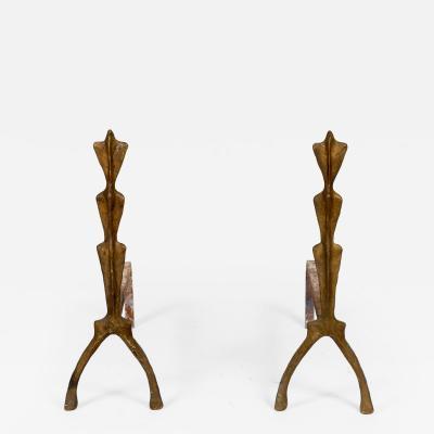 Franck Evennou Pair of Bronze andirons by Franck Evennou