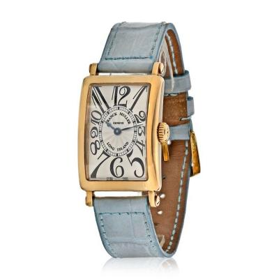 Franck Muller 18K YELLOW GOLD LONG ISLAND MASTER OF COMPLICATIONS LIGHT BLUE LEATHER STRAP
