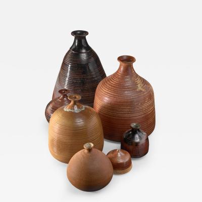 Franco Agnese Set of seven Franco Agnese ceramic vases