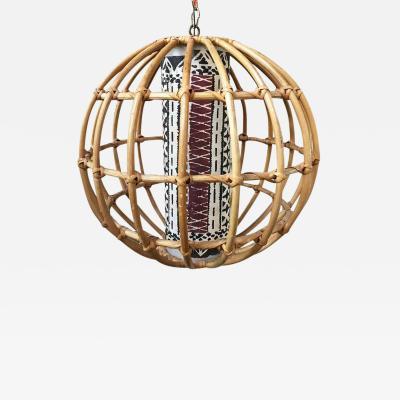 Franco Albini Franco Albini Inspired Stick Rattan Spherical Chandelier