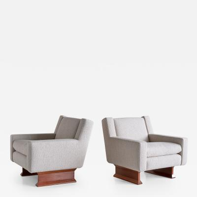 Franco Albini Franco Albini Pair of PL34 Armchairs in Boucl and Teak for Poggi Italy 1966