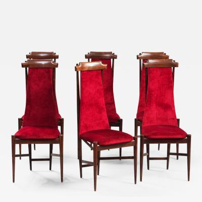 Franco Albini Franco Albini Style High back Dining Chairs Set of Six