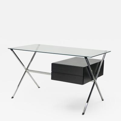 Franco Albini Franco Albini glass wood chrome desk for Knoll International 1950