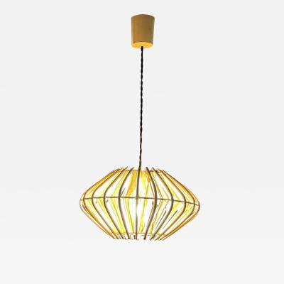 Franco Albini French Pendant Bamboo Rice Paper Bubble Lamp after Franco Albini France 1960s