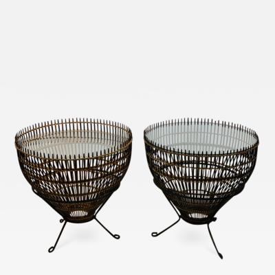 Franco Albini PAIR OF MID CENTURY FRANCO ALBINI RATTAN AND BLACK IRON END TABLES