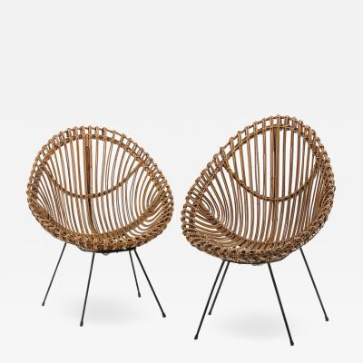 Franco Albini Pair of 1960s rattan chairs attributed to Franco Albini