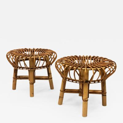 Franco Albini Pair of Italian Mid Century Modern Rattan and Bamboo Stools by Franco Albini