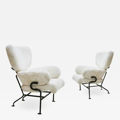 Franco Albini Pair of PL19 Franco Albini In Synthetic Leather Italian Armchairs