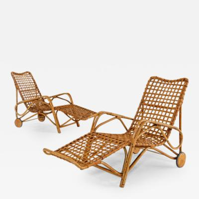 Franco Albini Rare Pair of Wicker Chaise Longues