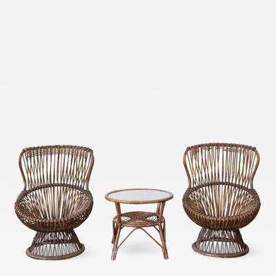 Franco Albini Set of Two Margherita Chairs by Franco Albini for v Bonacina Italy 1951