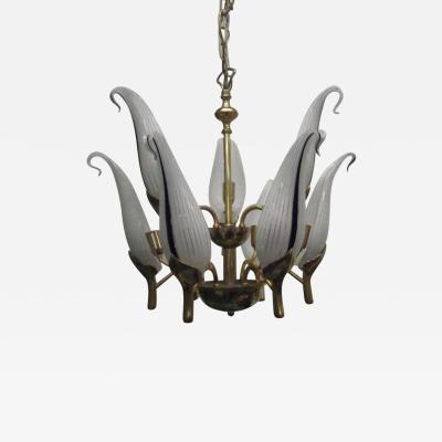 Franco Luce Chandelier with Handblown Glass Leaves by Franco Luce