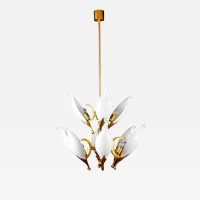 Franco Luce Fantastic Franco Luce for Seguso Murano Glass and Brass Chandelier 1970s