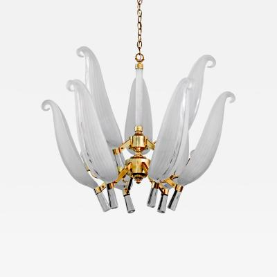 Franco Luce Large Gold Chandelier with Art Glass