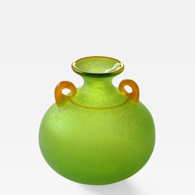 Franco Moretti A Vibrant Murano Signed Franco Moretti Acid Green Scavo Vase
