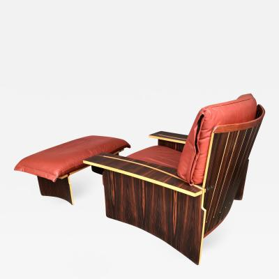 Franco Poli Lounge Chair Wood Leather by Poli and Fiori for Bernini Italy 1979