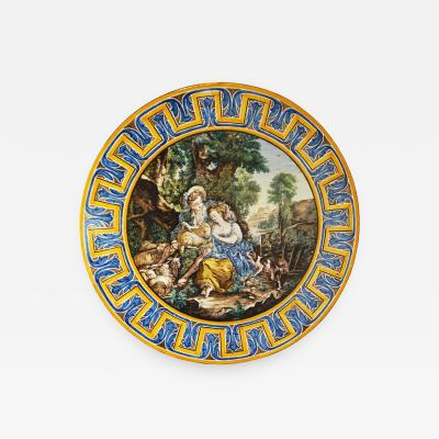 Francois Boucher 1870s French Rococo Revival Yellow Blue White Enamel Pottery Wall Art Plaque