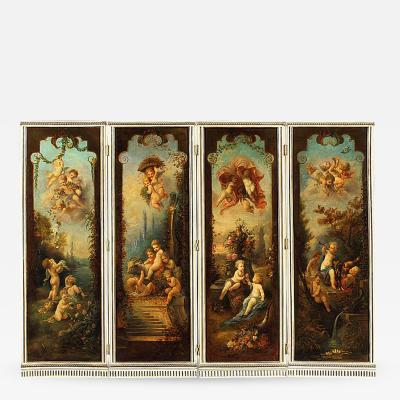 Francois Boucher 18th Century Rococo Decorative Screen in the Manner of Franc ois Boucher