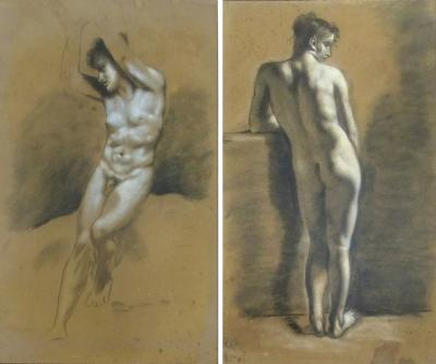 Francois Boucher Pair of Drawings of Male Nude Figures attributed to Francois Boucher circa 1750