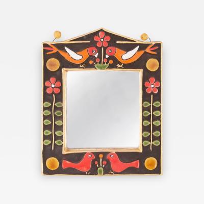 Francois Lembo Francois Lembo Midcentury Francois Lembo Rectangular Multi Color Ceramic Mirror