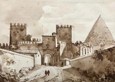 Francois Marius Granet View of Pyramid Cestius Rome