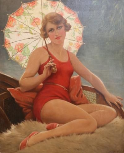 Francois Martin Kavel Bather with Sunshade by F Martin Kavel 1861 1931 France Art Deco 1920s