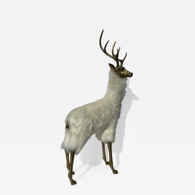 Francois Xavier Lalanne Brass Rain Deer in Icelandic Fur