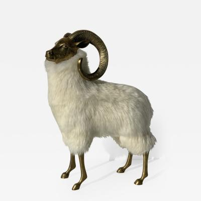 Francois Xavier Lalanne Brass Sheep or Ram Sculpture in Icelandic Fur