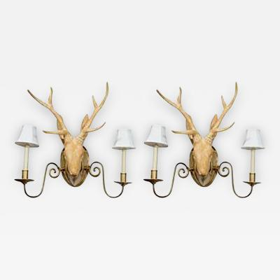 Francois Xavier Lalanne Fantastic Surrealist Pair of Deer Head Sconces in the manner of Lalanne