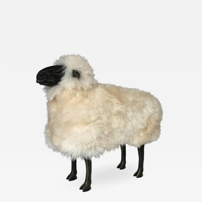 Francois Xavier Lalanne Lalanne Style Carved Wooden Sheep in Natural Sheepskin