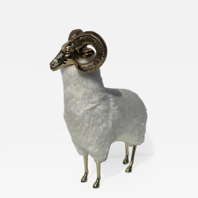 Francois Xavier Lalanne Polished Brass Ram or Sheep Sculpture