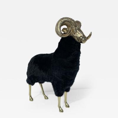 Francois Xavier Lalanne Polished Brass Ram or Sheep Sculpture in Black Fur