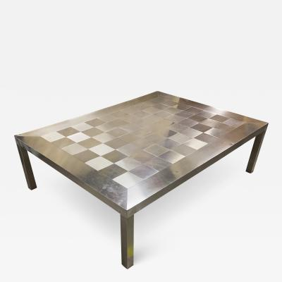 Francoise See Francoise See large brushed steel check square coffee table