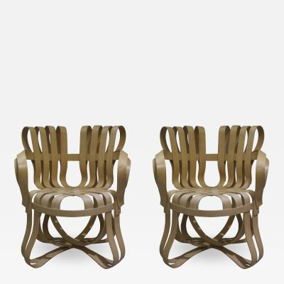 Frank Gehry Pair of Cross Check Bentwood Arm Chairs