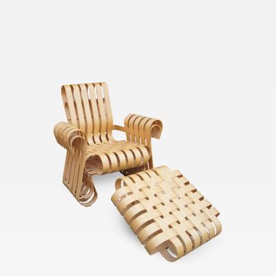 Frank Gehry Power Play Lounge Chair and Ottoman by Frank Gehry for Knoll