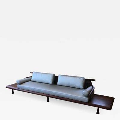 Frank Kyle FRANK KYLE Fabulous Floating Mahogany Sofa attached Side Tables Mexico 1950s