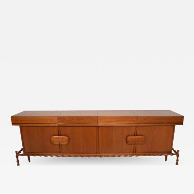 Frank Kyle Fabulous Frank Kyle Floating Credenza in Faux Bamboo Mahogany Brass MOD 1960s
