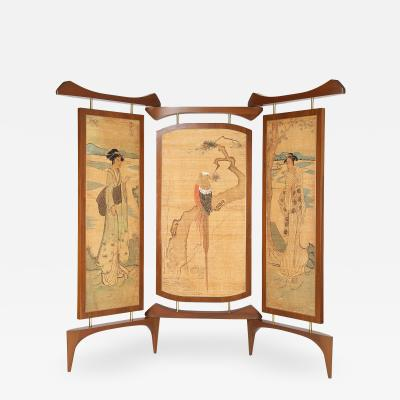 Frank Kyle Frank Kyle Extraordinary 3 Panel Screen with Japanese Motif 1950s