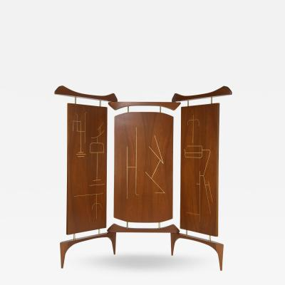Frank Kyle Frank Kyle Three Panel Screen in Walnut and Bronze Circa 1950s
