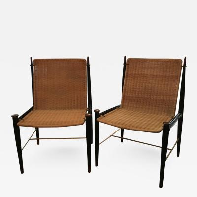 Frank Kyle Pair of Mexican Modernist Rosewood Brass and Wicker Lounge Chairs