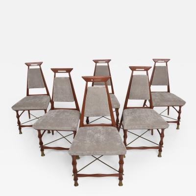 Frank Kyle Set of Six Dining Chairs After Frank Kyle Mexican Mid Century Modern