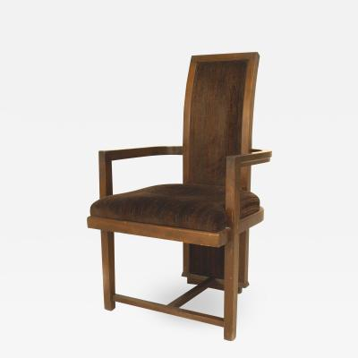 Frank Lloyd Wright American Mahogany Velvet Arm Chair