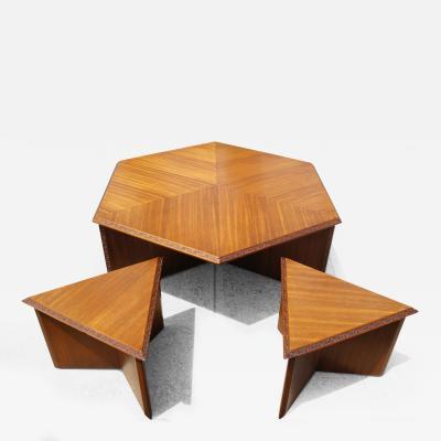 Frank Lloyd Wright Hexagonal Coffee Table Set by Frank Lloyd Wright for Heritage Henredon