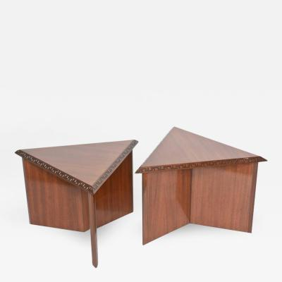 Frank Lloyd Wright Pair of American Modern Triangular Talesin Low Tables Frank Lloyd Wright